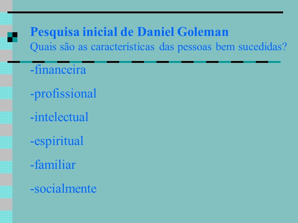 Pesquisa inicial de Daniel Goleman Quais são as características das pessoas bem sucedidas? -financeira -profissional -intelectual -espiritual -familia