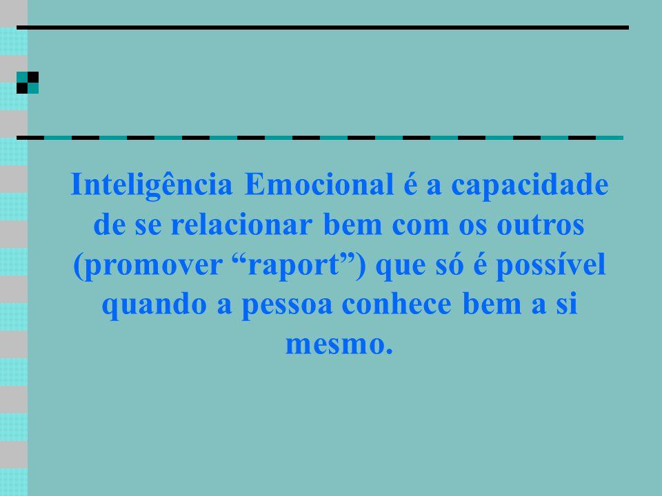 Inteligência Emocional é a capacidade de se relacionar bem com os outros (promover raport) que só é possível quando a pessoa conhece bem a si mesmo.