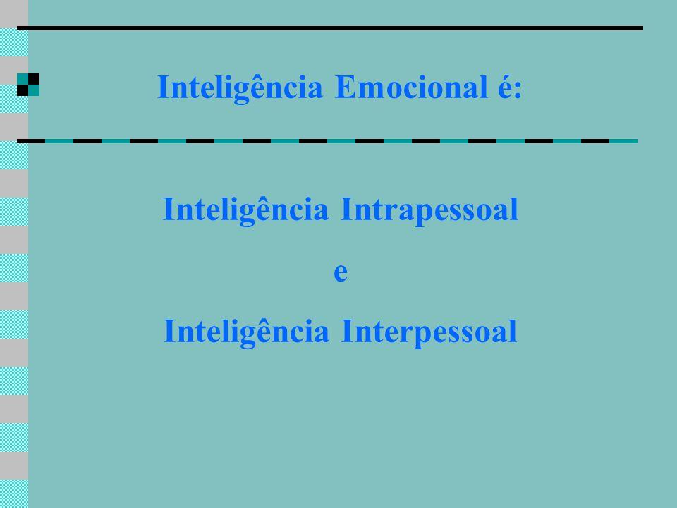 Inteligência Emocional é: Inteligência Intrapessoal e Inteligência Interpessoal