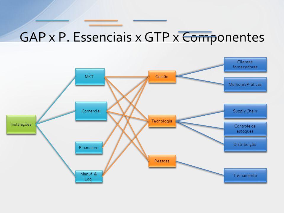 GAP x P. Essenciais x GTP x Componentes Gestão Melhores Práticas Instalações Tecnologia Pessoas Comercial Manuf. & Log. Supply Chain Controle de estoq