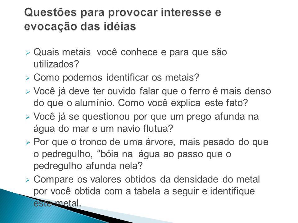 Quais metais você conhece e para que são utilizados? Como podemos identificar os metais? Você já deve ter ouvido falar que o ferro é mais denso do que