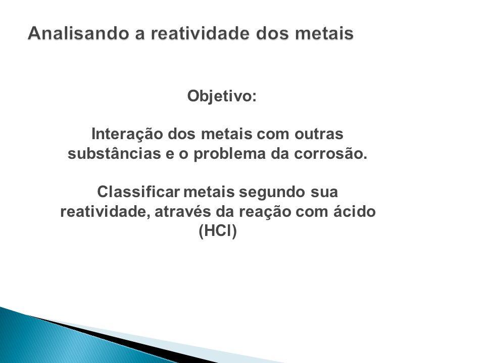 Objetivo: Interação dos metais com outras substâncias e o problema da corrosão. Classificar metais segundo sua reatividade, através da reação com ácid