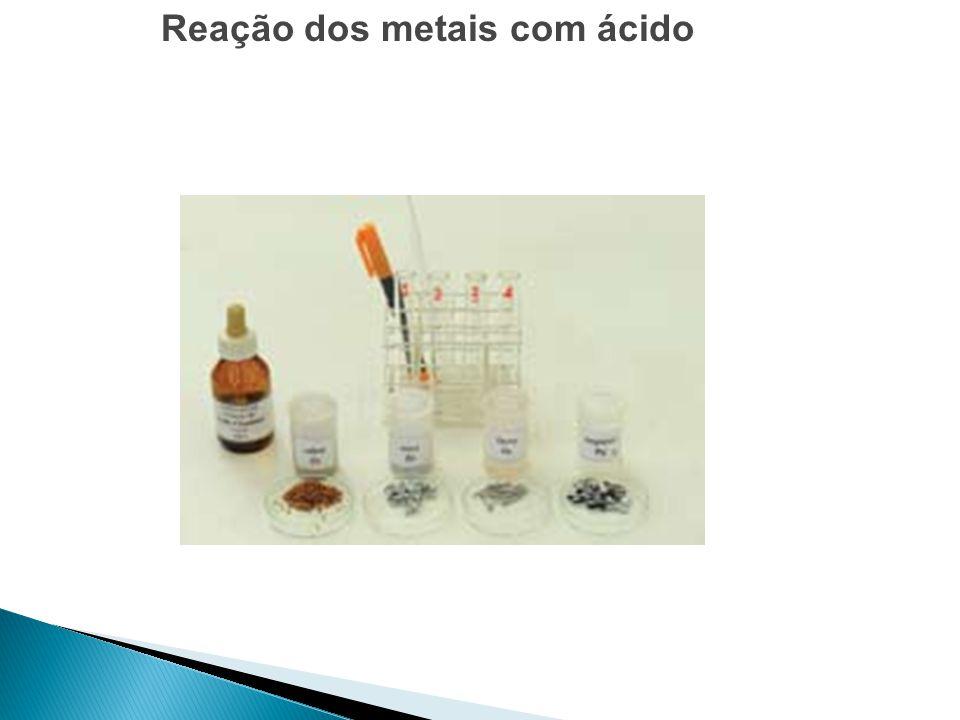 Reação dos metais com ácido
