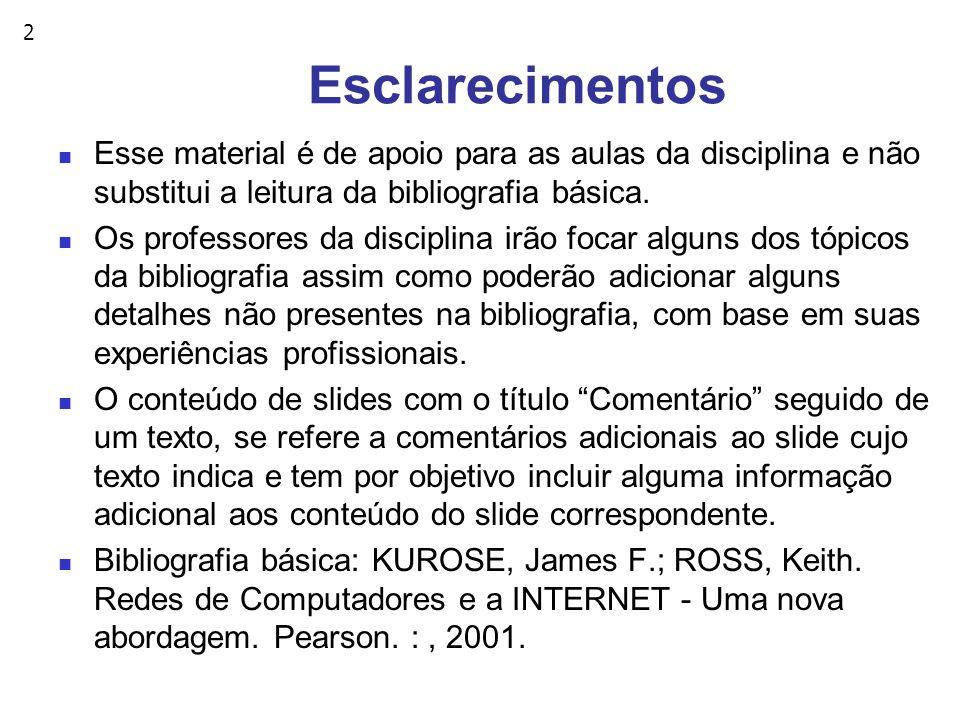 2 Esclarecimentos Esse material é de apoio para as aulas da disciplina e não substitui a leitura da bibliografia básica.