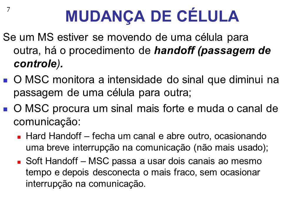 7 MUDANÇA DE CÉLULA Se um MS estiver se movendo de uma célula para outra, há o procedimento de handoff (passagem de controle).
