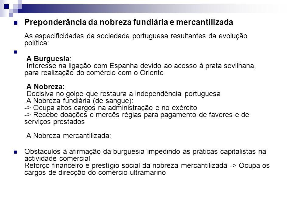 Preponderância da nobreza fundiária e mercantilizada As especificidades da sociedade portuguesa resultantes da evolução política: A Burguesia: Interes