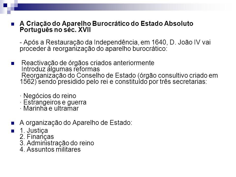 A Criação do Aparelho Burocrático do Estado Absoluto Português no séc. XVII - Após a Restauração da Independência, em 1640, D. João IV vai proceder à