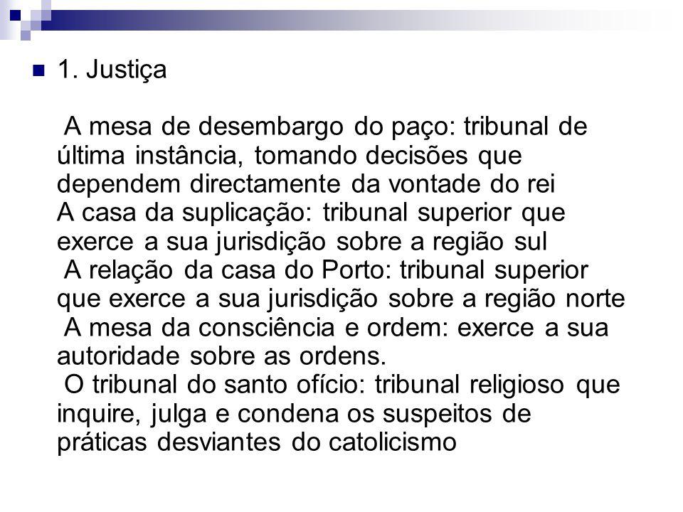 1. Justiça A mesa de desembargo do paço: tribunal de última instância, tomando decisões que dependem directamente da vontade do rei A casa da suplicaç