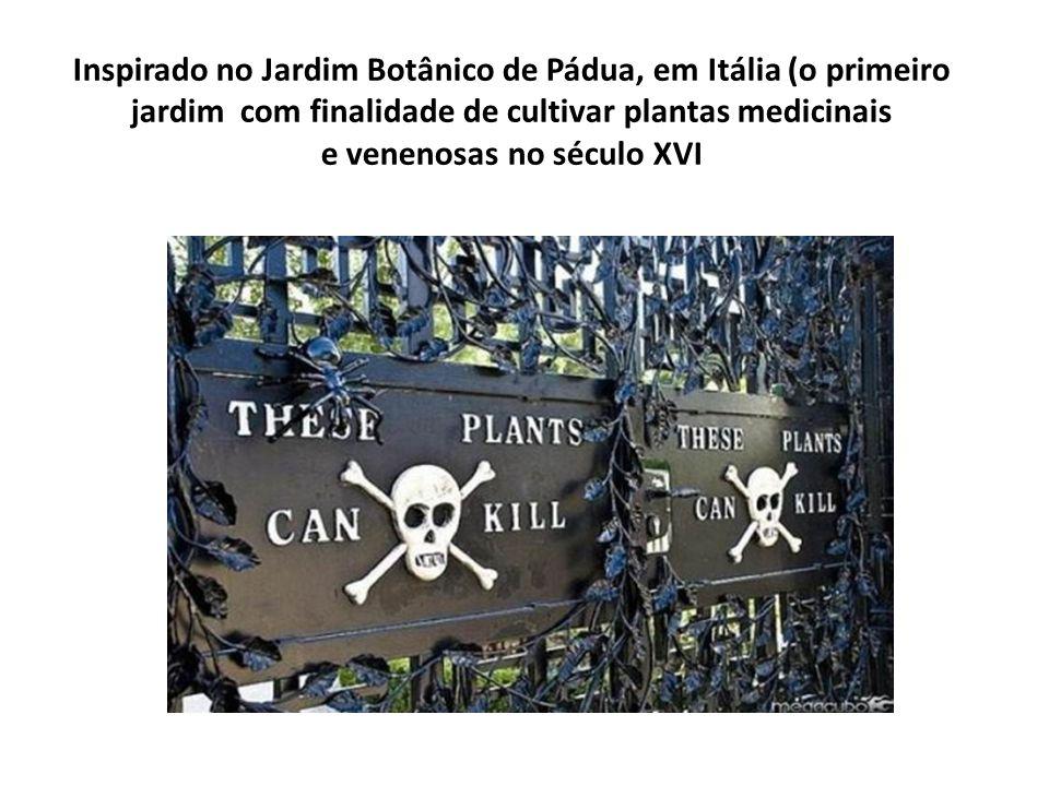 Inspirado no Jardim Botânico de Pádua, em Itália (o primeiro jardim com finalidade de cultivar plantas medicinais e venenosas no século XVI