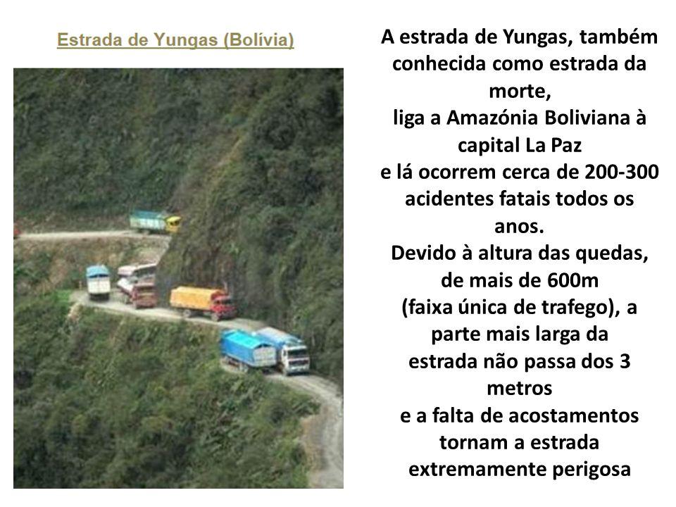 A estrada de Yungas, também conhecida como estrada da morte, liga a Amazónia Boliviana à capital La Paz e lá ocorrem cerca de 200-300 acidentes fatais