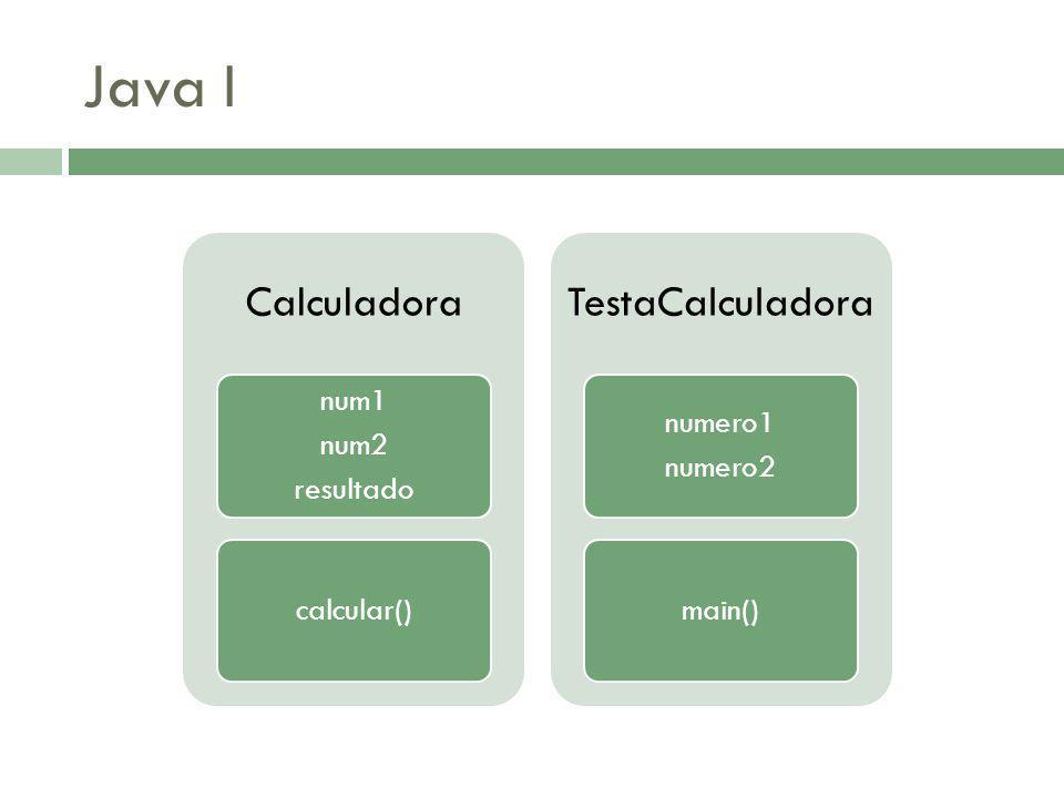 Java I Calculadora num1 num2 resultado calcular() TestaCalculadora numero1 numero2 main()