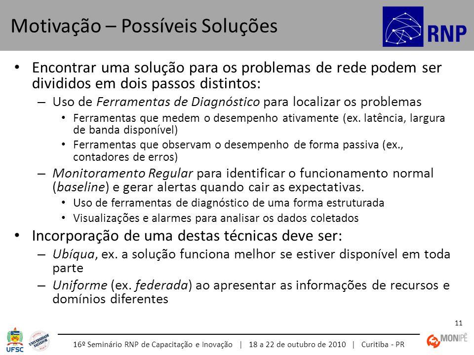 16º Seminário RNP de Capacitação e Inovação | 18 a 22 de outubro de 2010 | Curitiba - PR 11 Encontrar uma solução para os problemas de rede podem ser