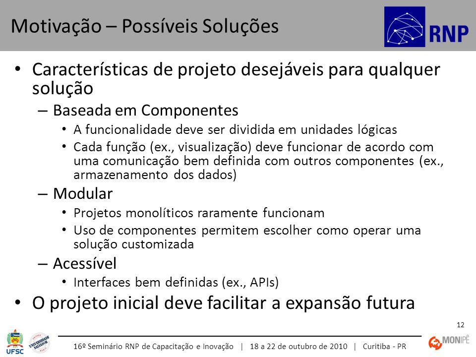 16º Seminário RNP de Capacitação e Inovação | 18 a 22 de outubro de 2010 | Curitiba - PR 12 Características de projeto desejáveis para qualquer soluçã
