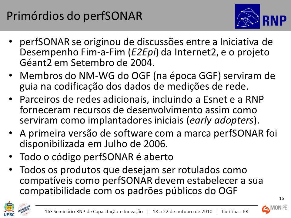 16º Seminário RNP de Capacitação e Inovação | 18 a 22 de outubro de 2010 | Curitiba - PR 16 perfSONAR se originou de discussões entre a Iniciativa de