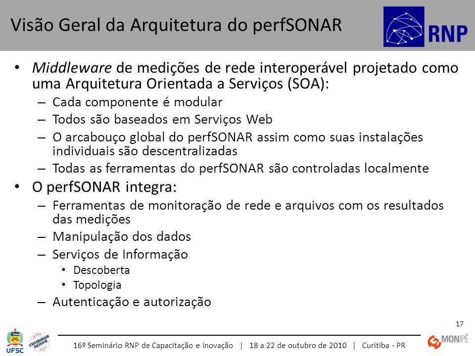 16º Seminário RNP de Capacitação e Inovação | 18 a 22 de outubro de 2010 | Curitiba - PR 17 Middleware de medições de rede interoperável projetado com