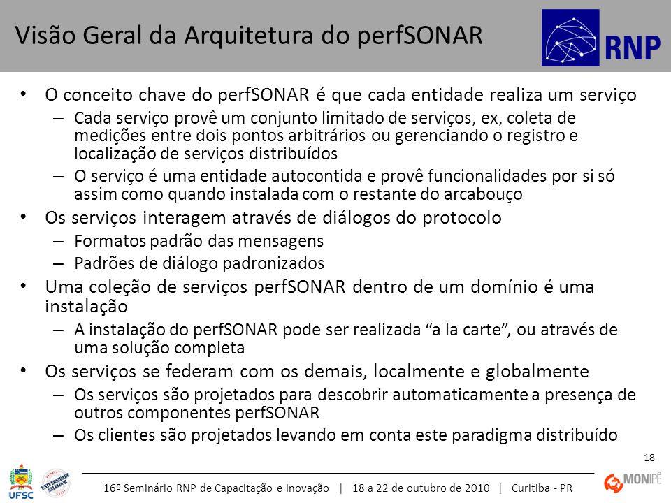 16º Seminário RNP de Capacitação e Inovação | 18 a 22 de outubro de 2010 | Curitiba - PR 18 O conceito chave do perfSONAR é que cada entidade realiza