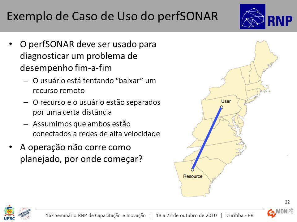 16º Seminário RNP de Capacitação e Inovação | 18 a 22 de outubro de 2010 | Curitiba - PR 22 O perfSONAR deve ser usado para diagnosticar um problema d