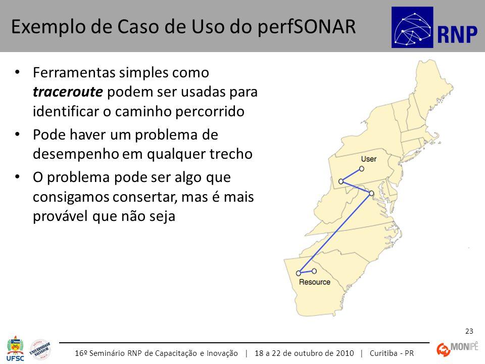 16º Seminário RNP de Capacitação e Inovação | 18 a 22 de outubro de 2010 | Curitiba - PR 23 Ferramentas simples como traceroute podem ser usadas para