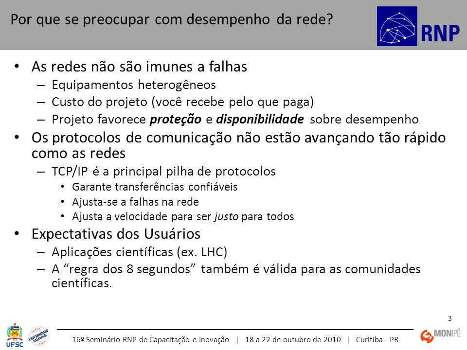 16º Seminário RNP de Capacitação e Inovação | 18 a 22 de outubro de 2010 | Curitiba - PR 14 Muitas organizações realizam monitoração e diagnóstico de suas próprias redes – Monitoração SNMP através de ferramentas comuns (ex., MRTG, Cacti) – Monitoração corporativa (ex.