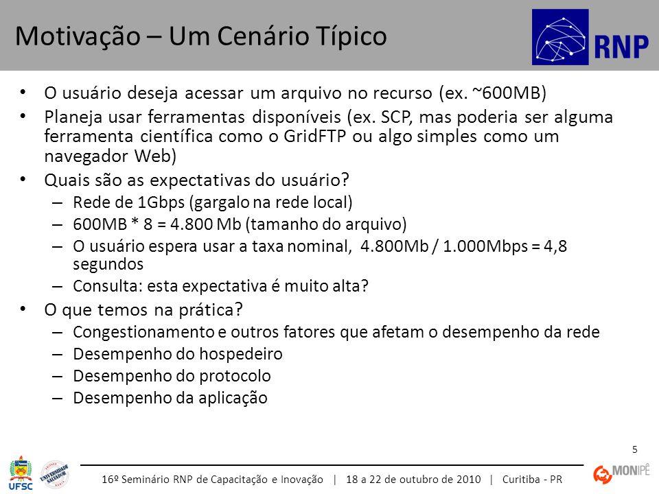 16º Seminário RNP de Capacitação e Inovação | 18 a 22 de outubro de 2010 | Curitiba - PR 5 O usuário deseja acessar um arquivo no recurso (ex. ~600MB)