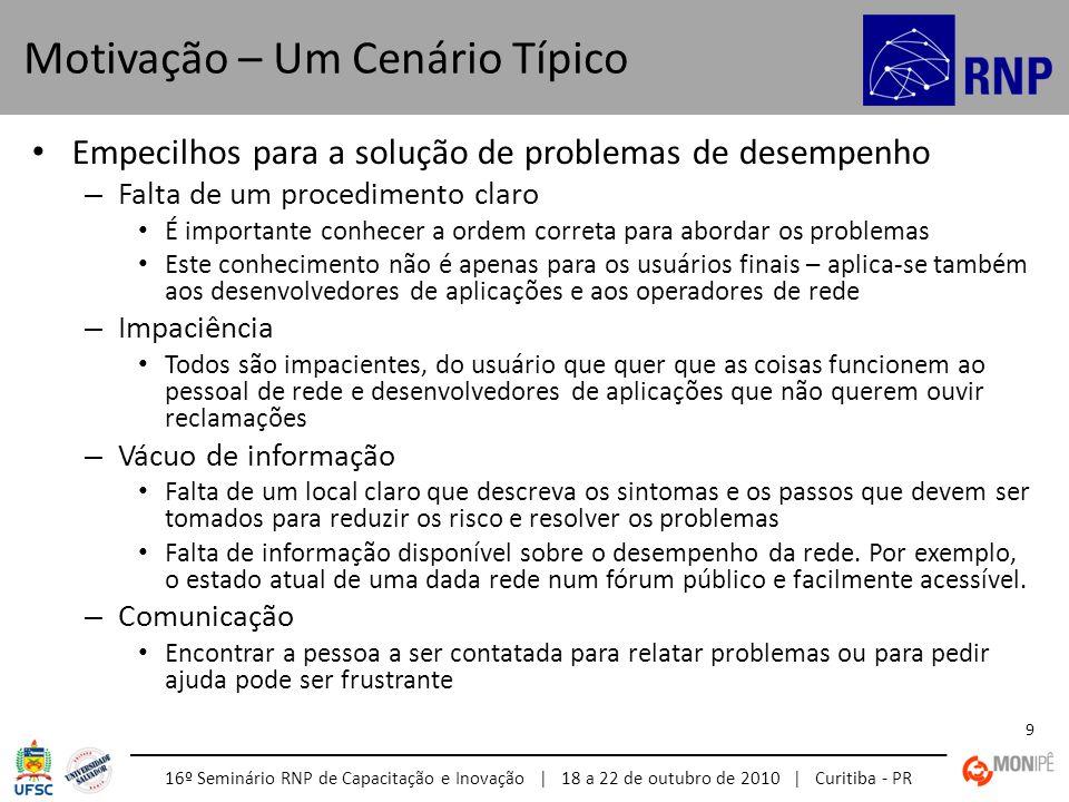 16º Seminário RNP de Capacitação e Inovação | 18 a 22 de outubro de 2010 | Curitiba - PR 9 Empecilhos para a solução de problemas de desempenho – Falt