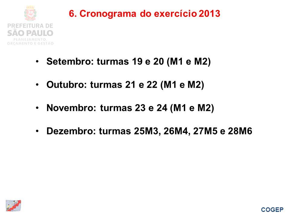 6. Cronograma do exercício 2013 COGEP Setembro: turmas 19 e 20 (M1 e M2) Outubro: turmas 21 e 22 (M1 e M2) Novembro: turmas 23 e 24 (M1 e M2) Dezembro