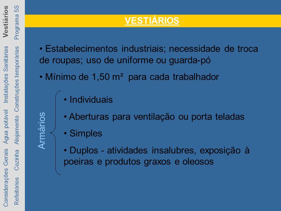 VESTIÁRIOS Considerações Gerais Água potável Instalações Sanitárias Vestiários Refeitórios Cozinha Alojamento Construções temporárias Programa 5S Esta