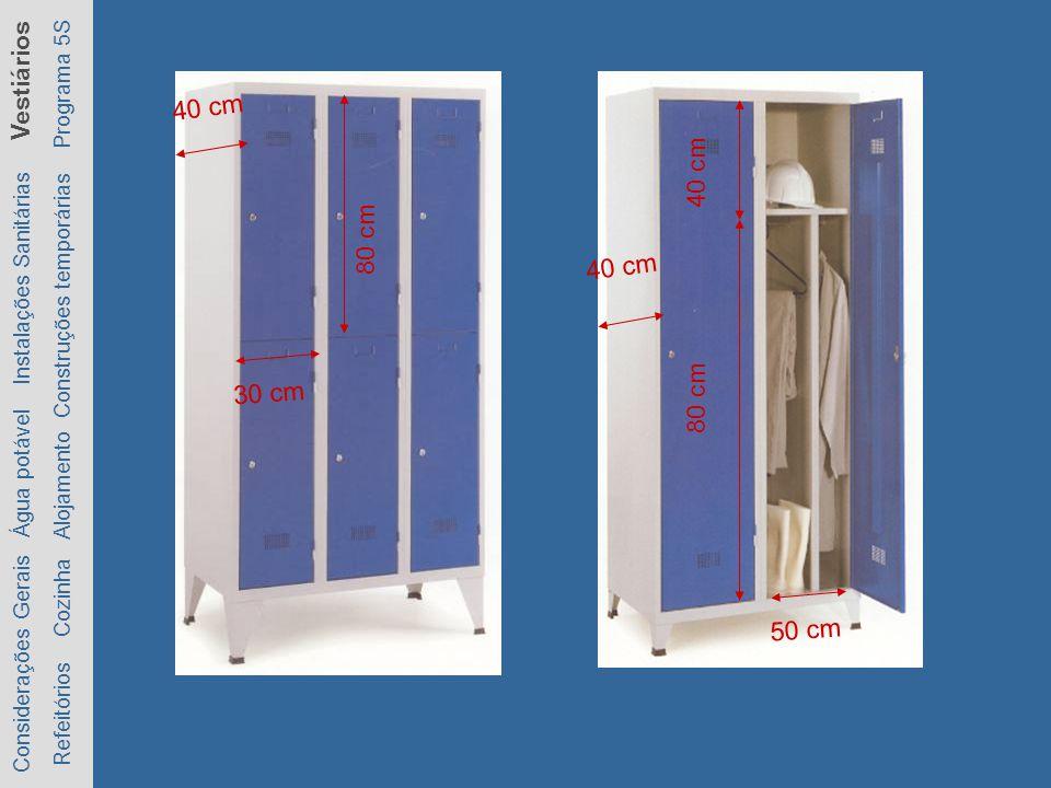 Considerações Gerais Água potável Instalações Sanitárias Vestiários Refeitórios Cozinha Alojamento Construções temporárias Programa 5S 80 cm 30 cm 40 cm 80 cm 40 cm 50 cm 40 cm