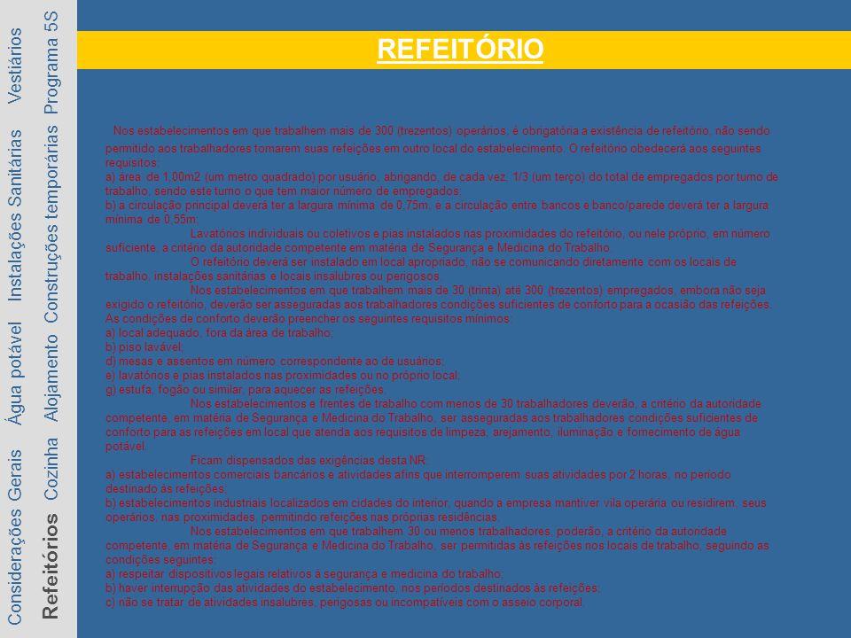 REFEITÓRIO Considerações Gerais Água potável Instalações Sanitárias Vestiários Refeitórios Cozinha Alojamento Construções temporárias Programa 5S Nos estabelecimentos em que trabalhem mais de 300 (trezentos) operários, é obrigatória a existência de refeitório, não sendo permitido aos trabalhadores tomarem suas refeições em outro local do estabelecimento.