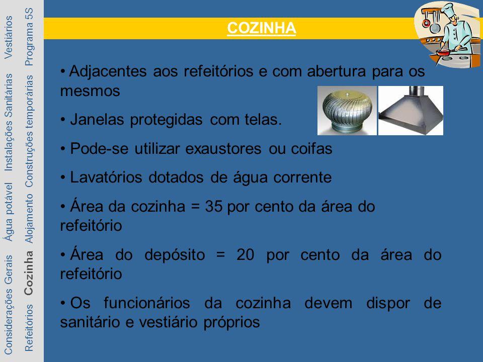 COZINHA Considerações Gerais Água potável Instalações Sanitárias Vestiários Refeitórios Cozinha Alojamento Construções temporárias Programa 5S Adjacentes aos refeitórios e com abertura para os mesmos Janelas protegidas com telas.