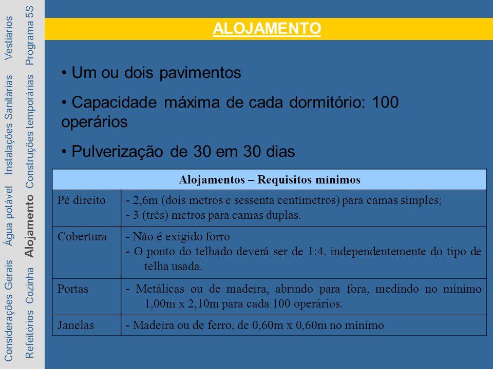 ALOJAMENTO Considerações Gerais Água potável Instalações Sanitárias Vestiários Refeitórios Cozinha Alojamento Construções temporárias Programa 5S Um ou dois pavimentos Capacidade máxima de cada dormitório: 100 operários Pulverização de 30 em 30 dias Alojamentos – Requisitos mínimos Pé direito- 2,6m (dois metros e sessenta centímetros) para camas simples; - 3 (três) metros para camas duplas.