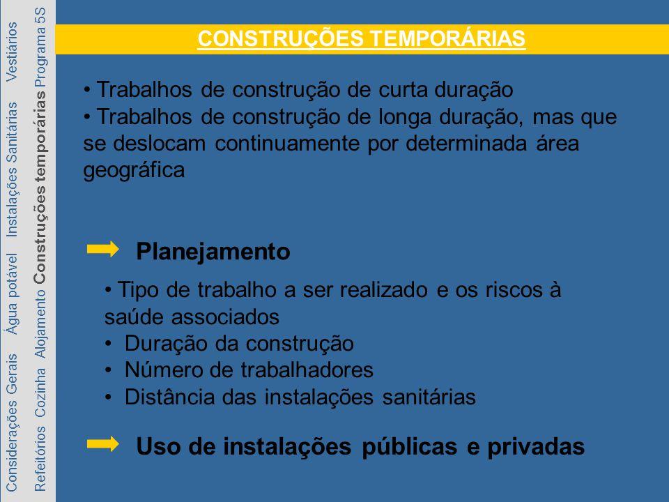 Considerações Gerais Água potável Instalações Sanitárias Vestiários Refeitórios Cozinha Alojamento Construções temporárias Programa 5S Trabalhos de co