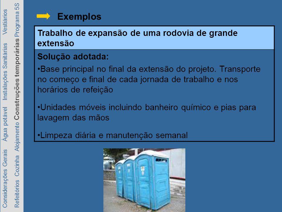 Considerações Gerais Água potável Instalações Sanitárias Vestiários Refeitórios Cozinha Alojamento Construções temporárias Programa 5S Exemplos Trabalho de expansão de uma rodovia de grande extensão Solução adotada: Base principal no final da extensão do projeto.