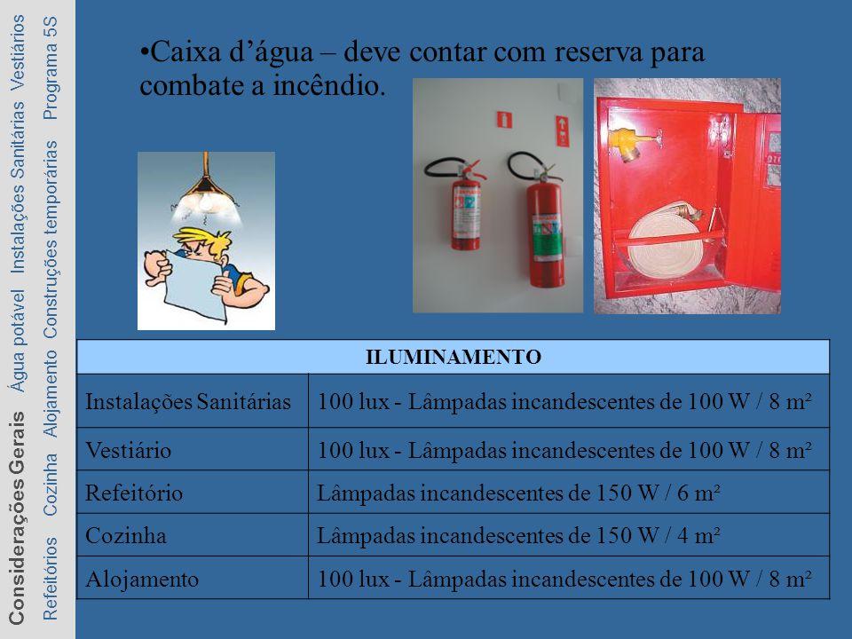 Considerações Gerais Água potável Instalações Sanitárias Vestiários Refeitórios Cozinha Alojamento Construções temporárias Programa 5S Caixa dágua – deve contar com reserva para combate a incêndio.
