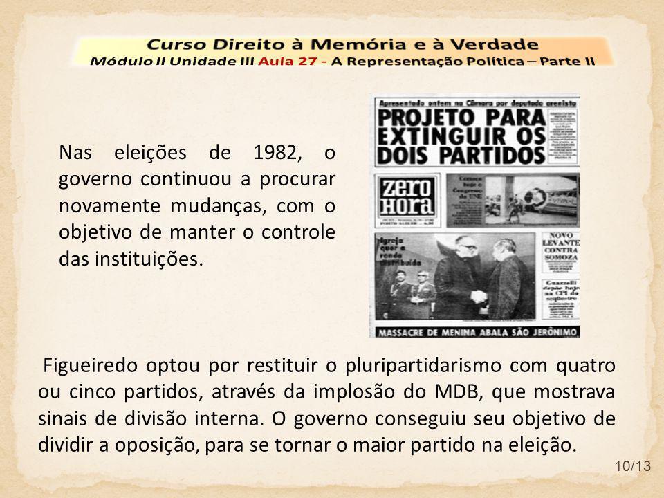 10/13 Nas eleições de 1982, o governo continuou a procurar novamente mudanças, com o objetivo de manter o controle das instituições. Figueiredo optou
