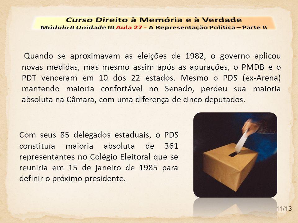 11/13 Quando se aproximavam as eleições de 1982, o governo aplicou novas medidas, mas mesmo assim após as apurações, o PMDB e o PDT venceram em 10 dos 22 estados.