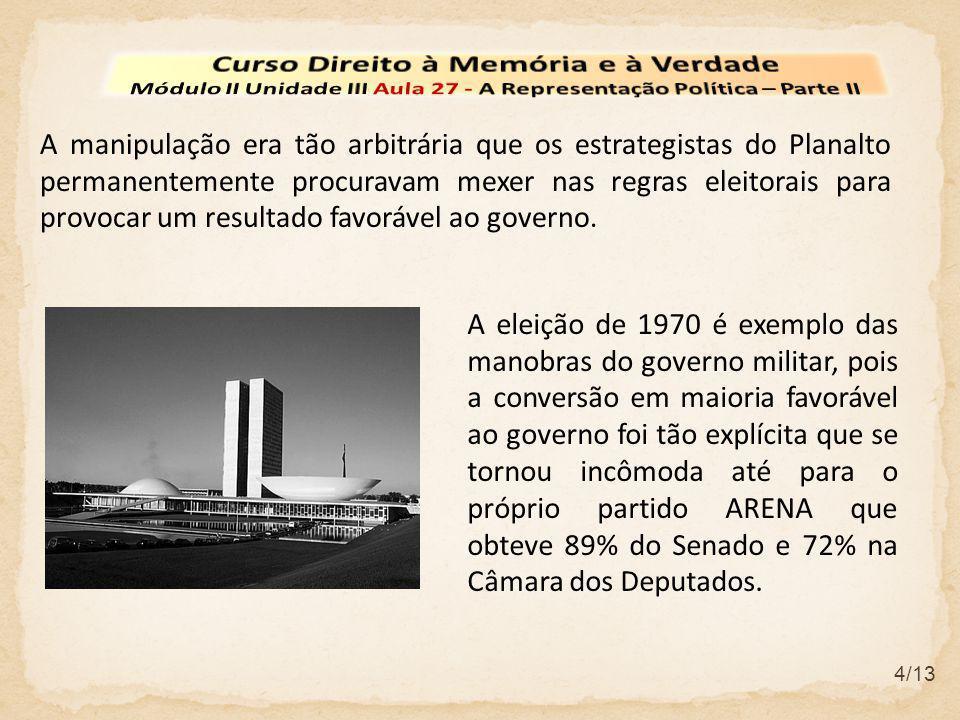 4/13 A manipulação era tão arbitrária que os estrategistas do Planalto permanentemente procuravam mexer nas regras eleitorais para provocar um resulta