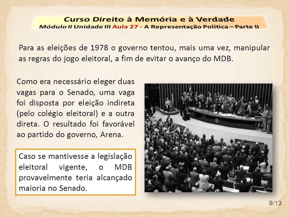 9/13 Para as eleições de 1978 o governo tentou, mais uma vez, manipular as regras do jogo eleitoral, a fim de evitar o avanço do MDB. Como era necessá