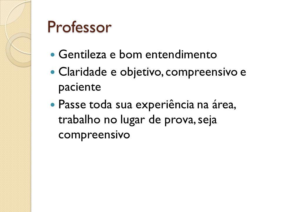 Professor Gentileza e bom entendimento Claridade e objetivo, compreensivo e paciente Passe toda sua experiência na área, trabalho no lugar de prova, seja compreensivo