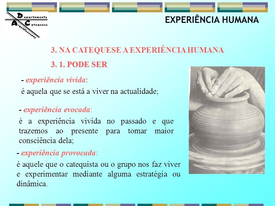 - experiência vivida: é aquela que se está a viver na actualidade; - experiência evocada: é a experiência vivida no passado e que trazemos ao presente
