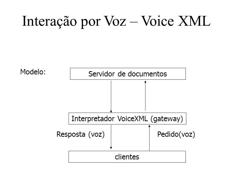 Modelo: Servidor de documentos Interpretador VoiceXML (gateway) clientes Pedido(voz)Resposta (voz) Interação por Voz – Voice XML