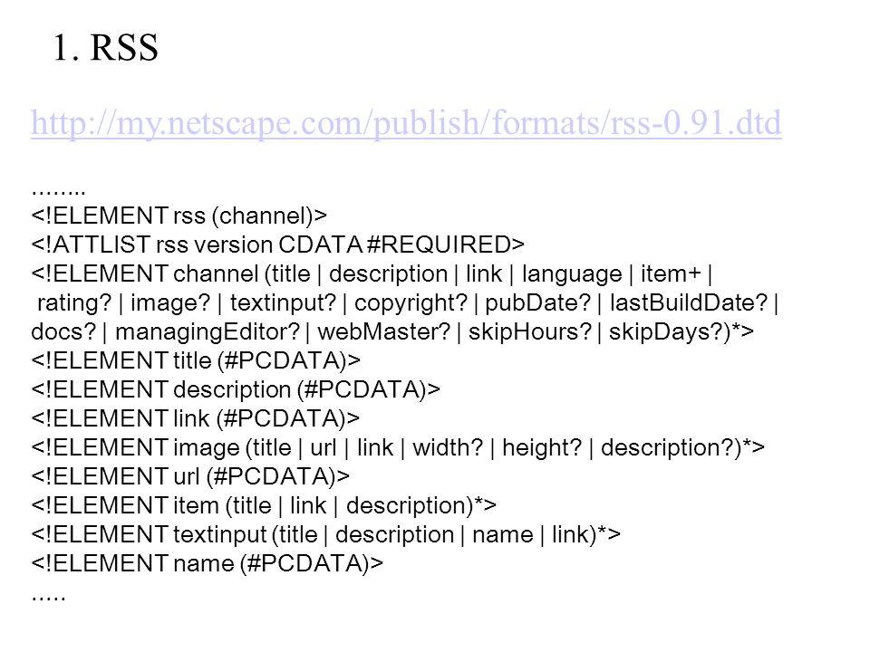 1. RSS http://my.netscape.com/publish/formats/rss-0.91.dtd........