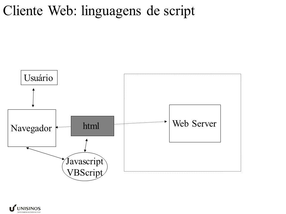 Cliente Web: linguagens de script Usuário Navegador Web Server Javascript VBScript html