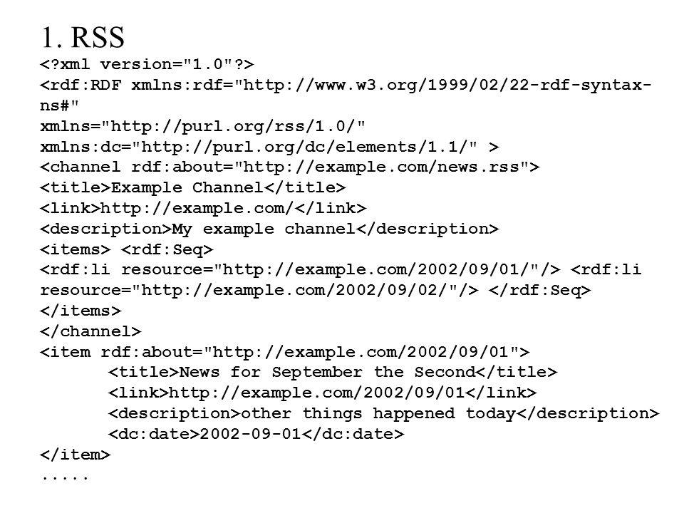 1. RSS <rdf:RDF xmlns:rdf=