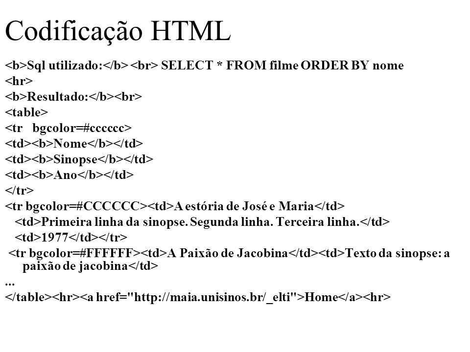 Codificação HTML Sql utilizado: SELECT * FROM filme ORDER BY nome Resultado: Nome Sinopse Ano A estória de José e Maria Primeira linha da sinopse.