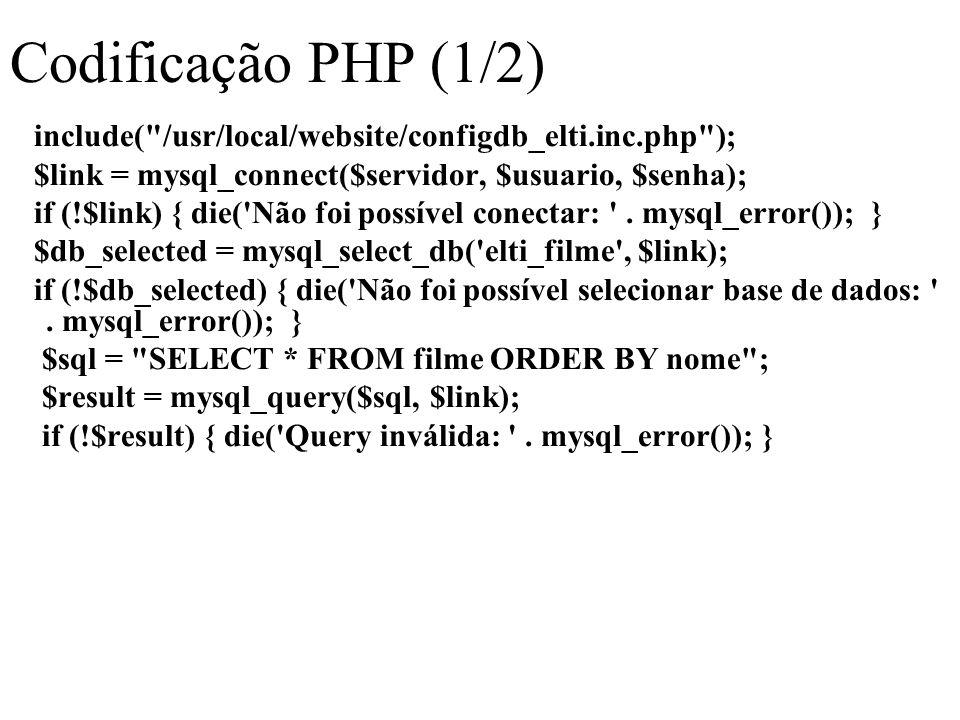 Codificação PHP (1/2) include( /usr/local/website/configdb_elti.inc.php ); $link = mysql_connect($servidor, $usuario, $senha); if (!$link) { die( Não foi possível conectar: .