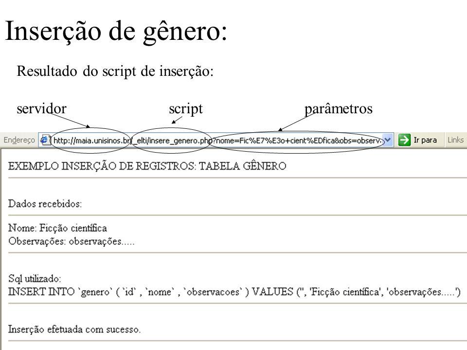 Resultado do script de inserção: servidor script parâmetros