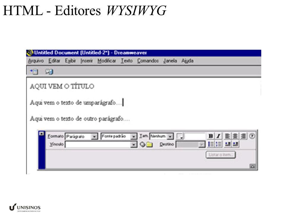 HTML - Editores WYSIWYG