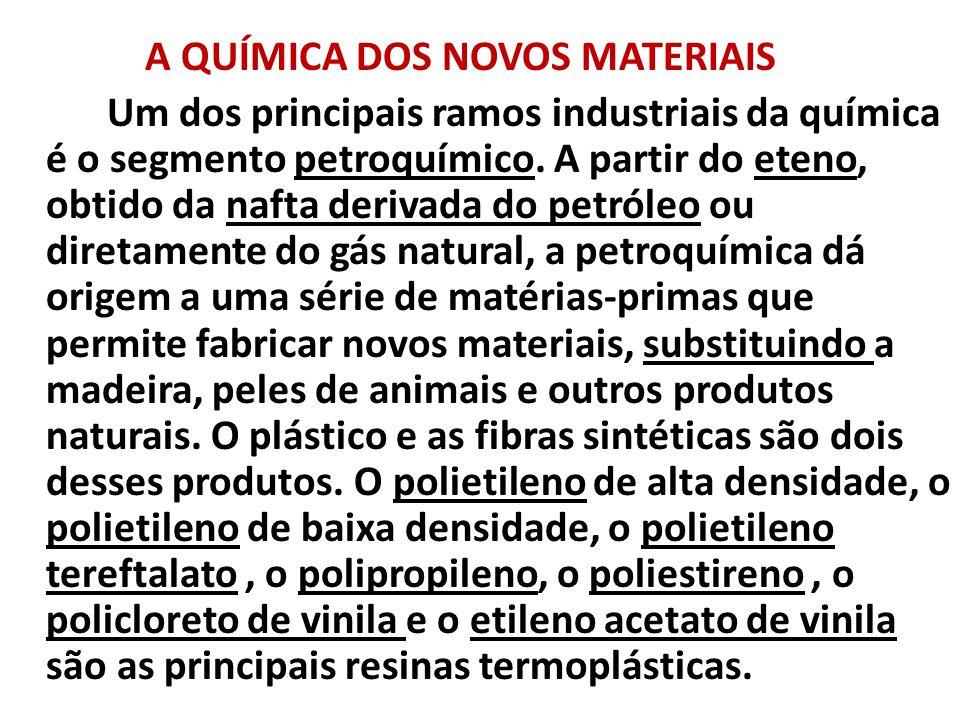 A QUÍMICA DOS NOVOS MATERIAIS Um dos principais ramos industriais da química é o segmento petroquímico. A partir do eteno, obtido da nafta derivada do