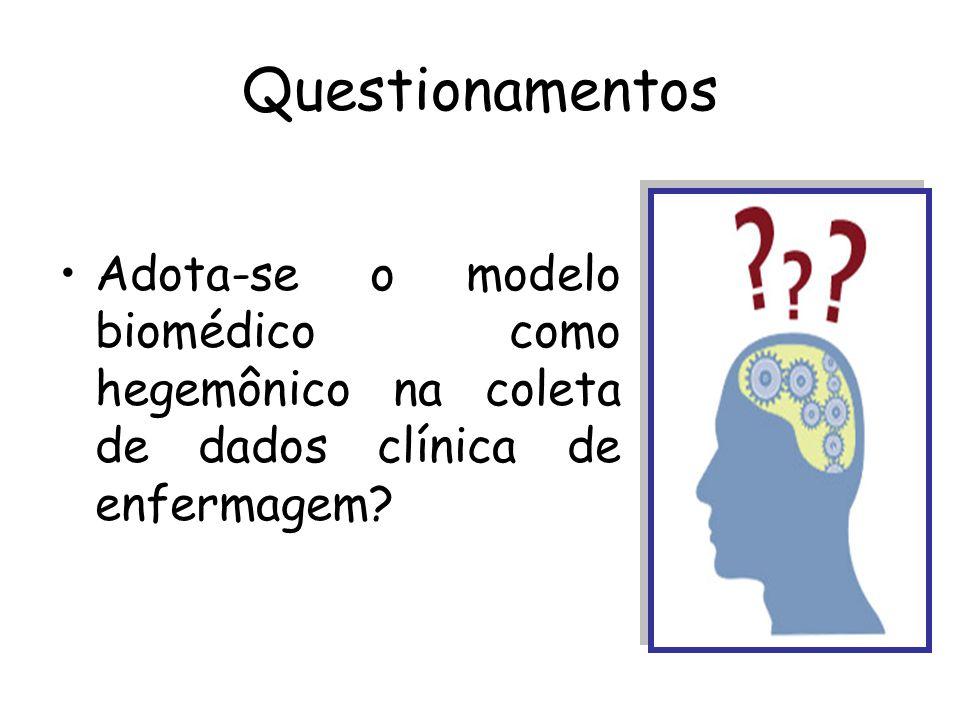 Questionamentos Adota-se o modelo biomédico como hegemônico na coleta de dados clínica de enfermagem?